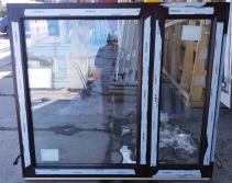 Okno PCV 1650 x 1435 Mahoń 2 stronny